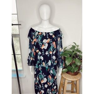 NY&C floral ruffle off the shoulder maxi dress